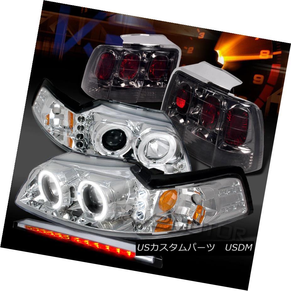 ヘッドライト 99-04 Mustang Chrome LED Projector Headlights+LED 3rd Brake+Smoke Tail Lights 99-04ムスタングクロームLEDプロジェクターヘッドライト+ LED第3ブレーキ+煙テールライト