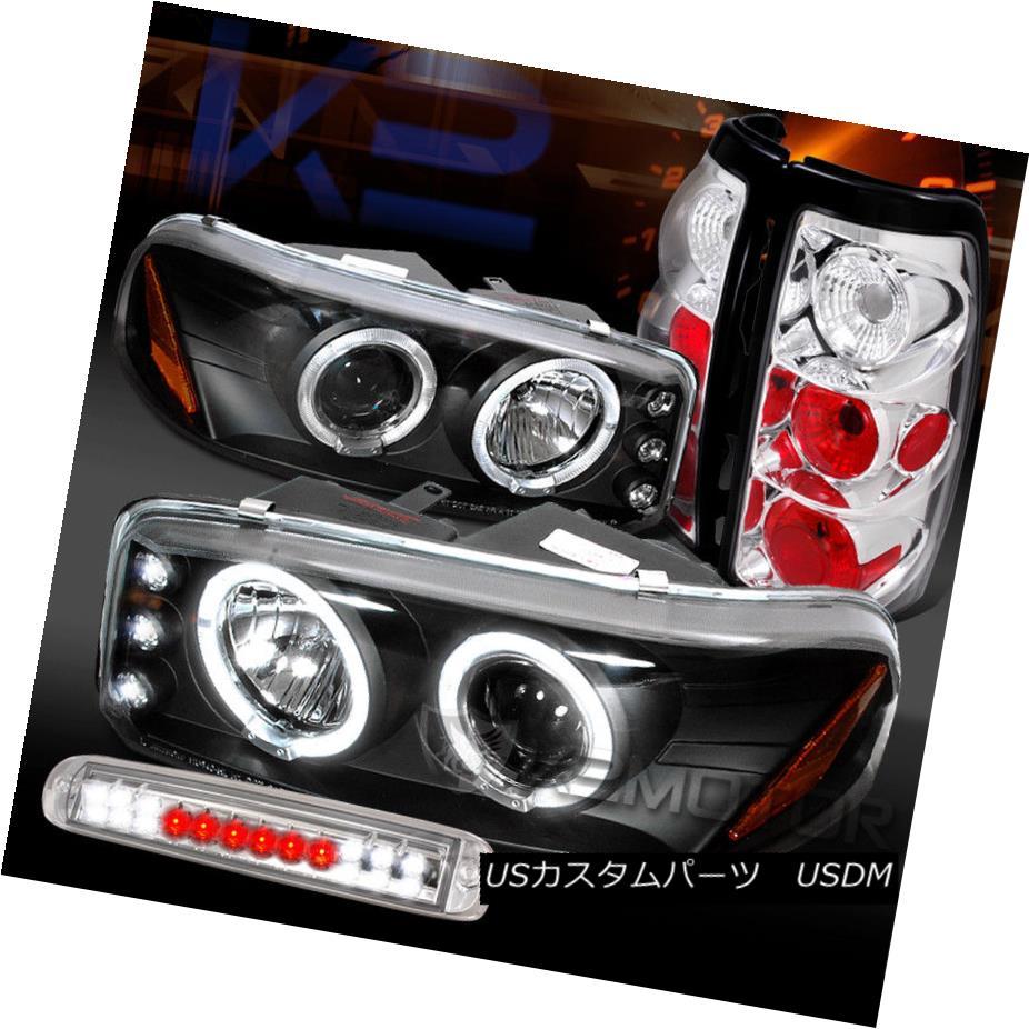 ヘッドライト 99-03 Sierra Black Projector Headlights+Chrome Tail LED 3rd Brake Lamps 99-03 Sierra Blackプロジェクターヘッドライト+ Chr  omeテールLED第3ブレーキランプ