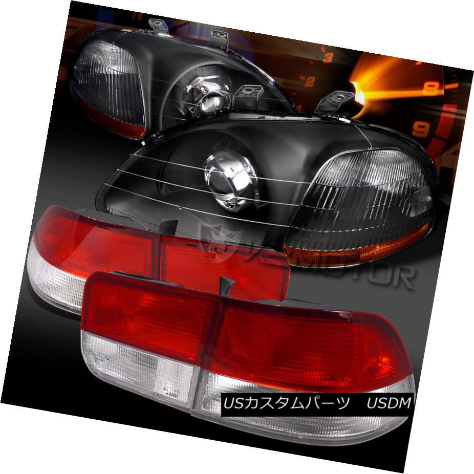 ヘッドライト Fit 96-98 Civic 2DR Black Retrofit Projector Headlights+Red/Clear Tail Lamps フィット96-98シビック2DRブラックレトロフィットプロジェクターヘッドライト+レッド /クリアテールランプ
