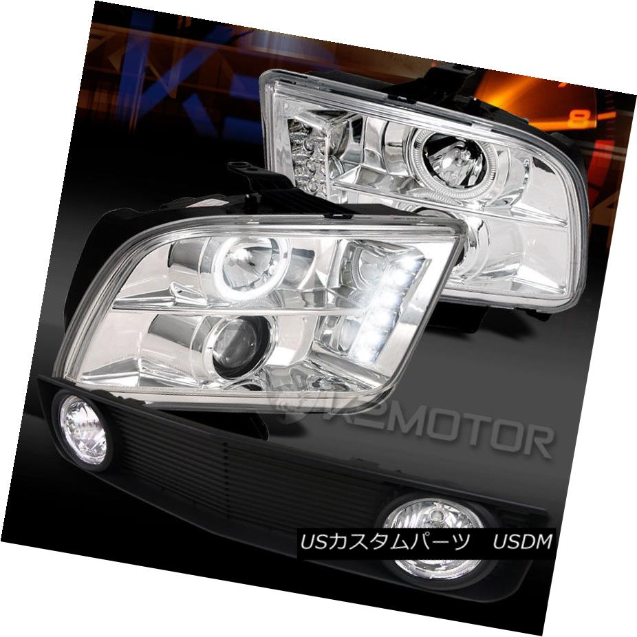 ヘッドライト 05-09 Mustang Chrome Halo LED Projector Headlights+Black Grille w/ Fog Lamps 05-09 Mustang Chrome Halo LEDプロジェクターヘッドライト+ Bla  ckグリル(フォグランプ付き)