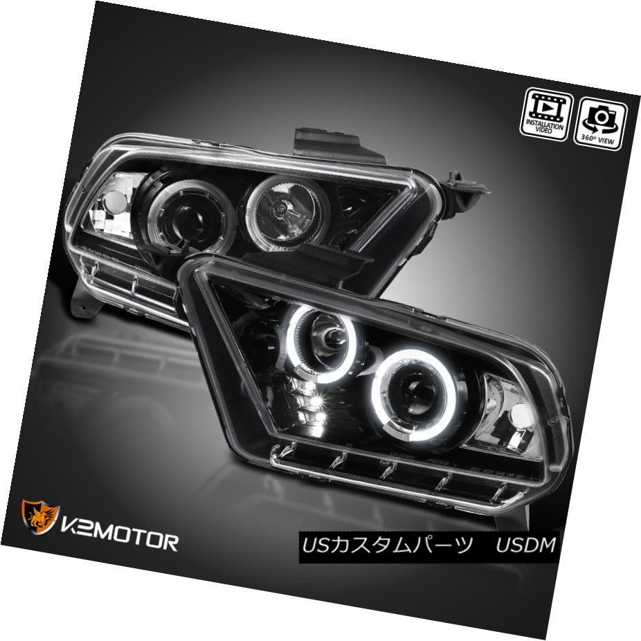 ヘッドライト Jet Black 2010-2014 Ford Mustang Halogen Version LED Projector Headlights Pair ジェットブラック2010-2014フォードマスタングハロゲンバージョンLEDプロジェクターヘッドライトペア