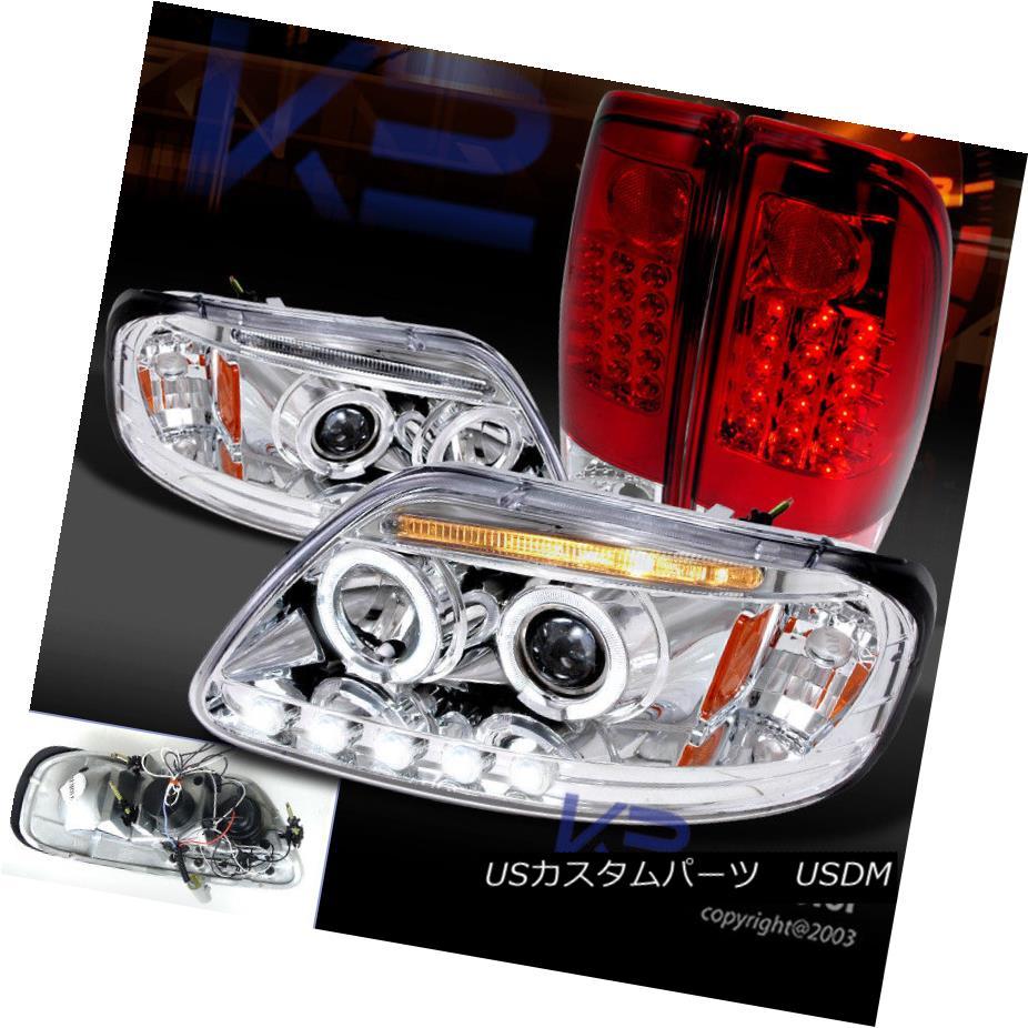 ヘッドライト 97-03 F150 XL/XLT Chrome/Clear Halo LED Projector Headlight+Red LED Tail Lamp 97-03 F150 XL / XLTクローム/クリアハローLEDプロジェクターヘッドライト+レッドLEDテールランプ