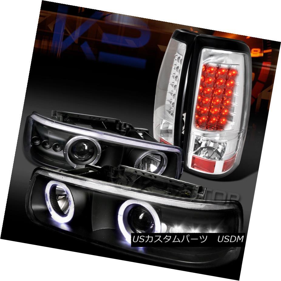 ヘッドライト 99-02 Silverado Black Halo SMD Projector Headlights+Chrome LED Tail Lamps 99-02 Silverado Black Halo SMDプロジェクターヘッドライト+ Chr  ome LEDテールランプ