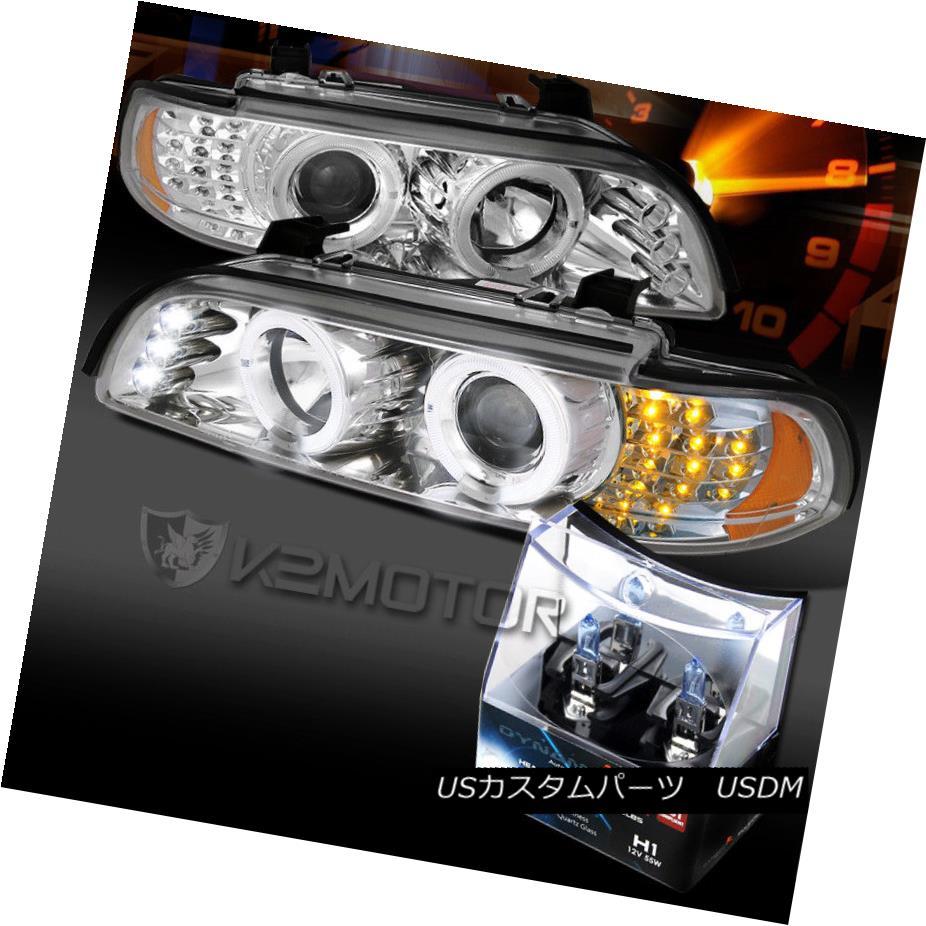ヘッドライト 01-03 BMW E39 525 530 Chrome LED Signal Projector Headlights+H1 Halogen Bulbs 01-03 BMW E39 525 530クロームLEDシグナルプロジェクターヘッドライト+ H1ハロゲン電球
