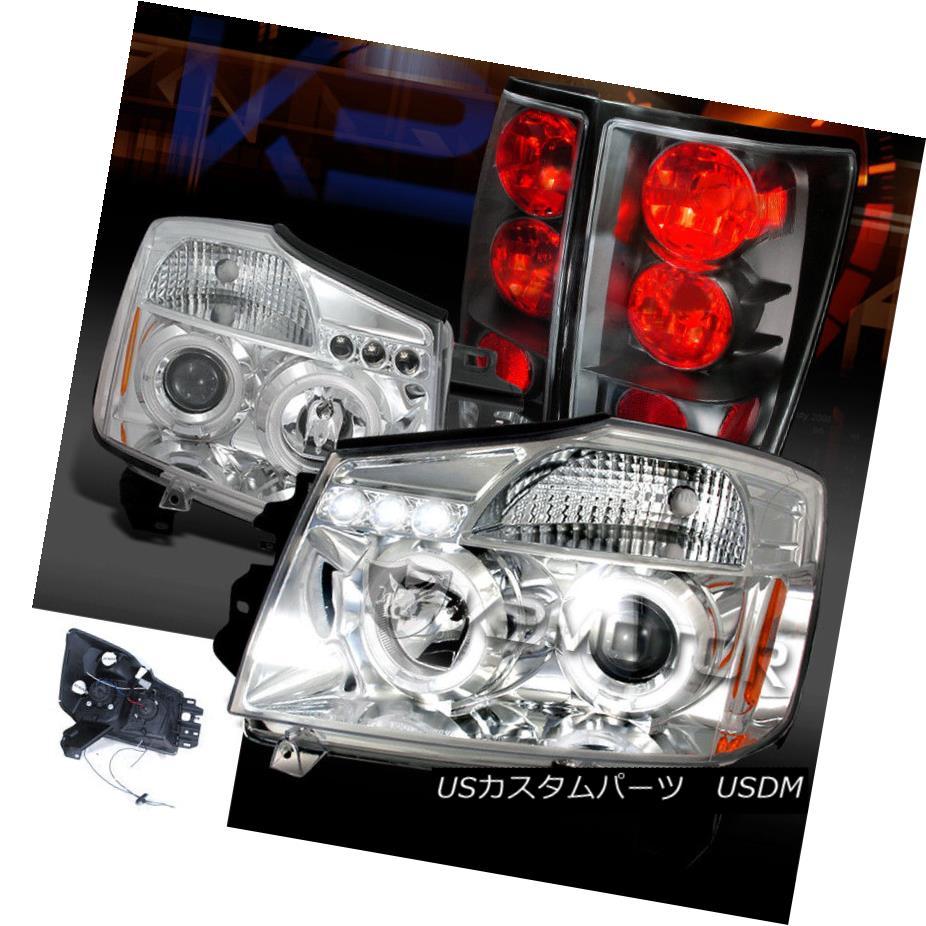 ヘッドライト Fit 04-13 Titan Chrome Dual Halo LED Projector Headlights+Black Tail Brake Lamps フィット04-13タイタンクロムデュアルハローLEDプロジェクターヘッドライト+ Bla  ckテールブレーキランプ