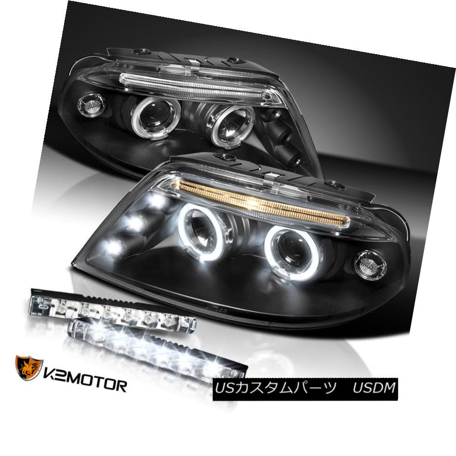 ヘッドライト For 01-05 VW Passat Black Halo Projector Headlights+Bumper 6-LED DRL Fog Lamp 01-05 VW Passat Black Haloプロジェクターヘッドライト+ Bum  6 LED DRLフォグランプあたり
