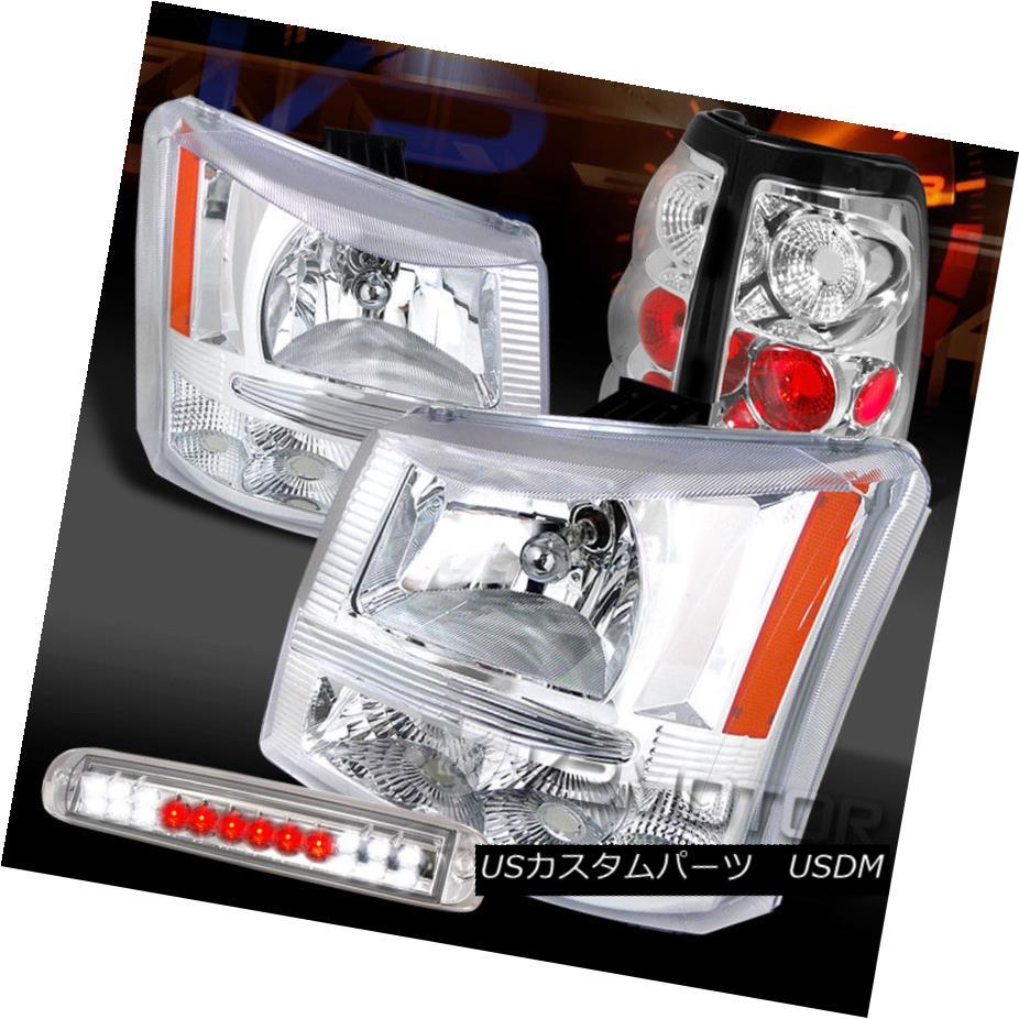 ヘッドライト 03-06 Silverado 1500 Chrome Headlights+LED 3rd Brake Light+Clear Tail Lamps 03-06 Silverado 1500 Chromeヘッドライト+ LED第3ブレーキライト+クリアテールランプ