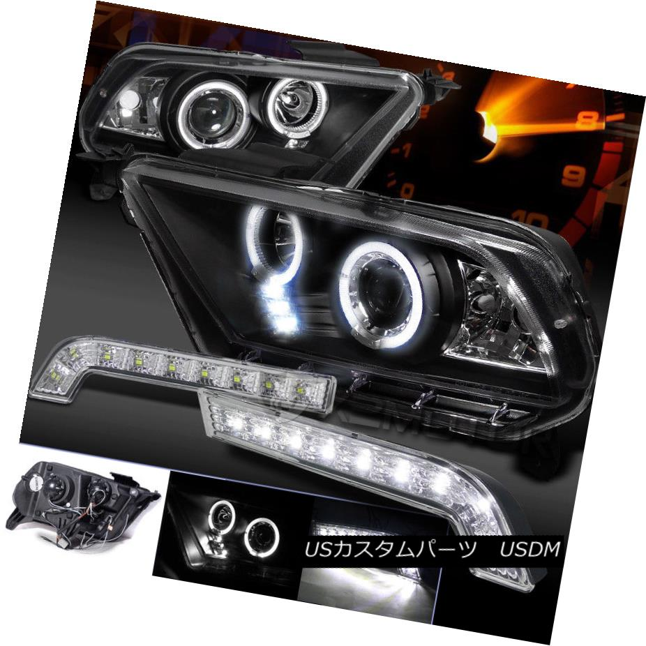 ヘッドライト Mustang GT 10-14 Halo Pro Projector Headlights Black+DRL SMD LED Bumper Lamps Mustang GT 10-14 Halo Proプロジェクターヘッドライトブラック+ DRL SMD LEDバンパーランプ