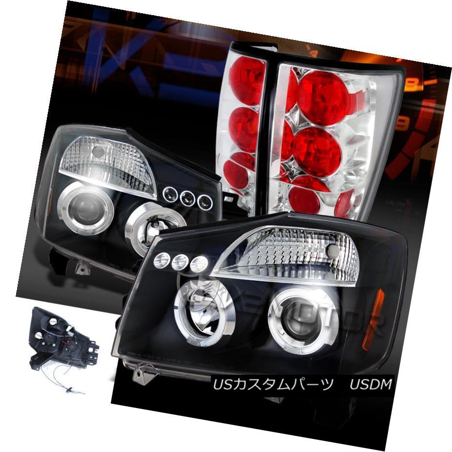 ヘッドライト For 04-13 Titan Black Halo LED Projector Headlights+Clear Rear Tail Lamps 04-13 Titan Black Halo LEDプロジェクターヘッドライト+ Cle  arリアテールランプ