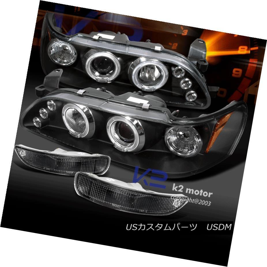ヘッドライト For 93-97 Toyota Corolla LED Projector Headlights+Black Bumper Parking Lamp 93-97トヨタカローラLEDプロジェクターヘッドライト+ Bla  ckバンパーパーキングランプ