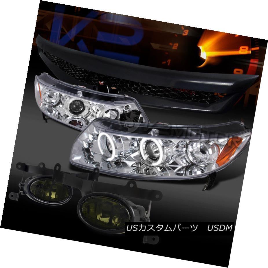 ヘッドライト Fit 06-08 Civic Chrome Halo LED Projector Headlights+Hood Grille+Smoke Fog Lamps フィット06-08 Civic Chrome Halo LEDプロジェクターヘッドライト+ Hoo  dグリル+煙霧ランプ