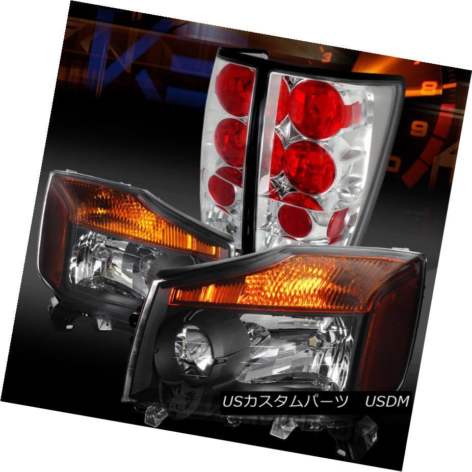 ヘッドライト Fit 04-13 Titan Pickup Crystal Black Headlights+Chrome Tail Lamps フィット04-13タイタンピックアップクリスタルブラックヘッドライト+ Chr  omeテールランプ