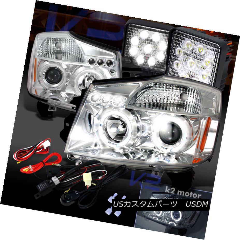 ヘッドライト For 04-15 Titan Armada Chrome Halo Projector Headlights+9-Led Work Lights Kit 04-15タイタンアルマダクロームハロープロジェクターヘッドライト+ 9-L  edワークライトキット