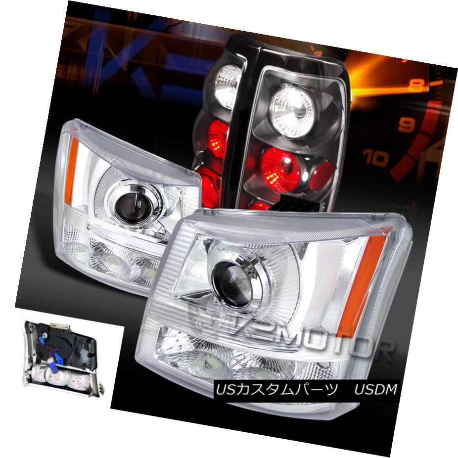 ヘッドライト 03-06 Silverado 1500/2500 Chrome Projector Headlights+Black Tail Brake Lamps 03-06 Silverado 1500/2500クロームプロジェクターヘッドライト+ Bla  ckテールブレーキランプ