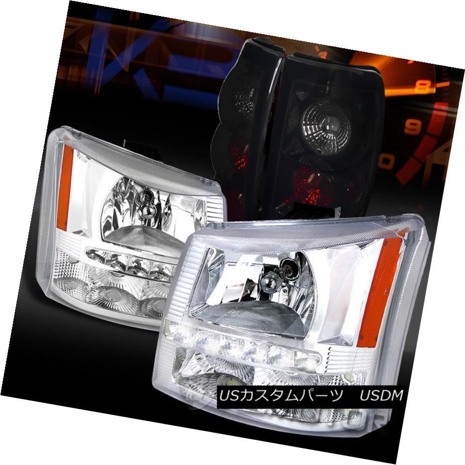 ヘッドライト 03-06 Silverado Clear SMD LED DRL Headlights+Glossy Black Tail Lights 03-06シルバラードクリアSMD LED DRLヘッドライト+グロー ssyブラックテールライト