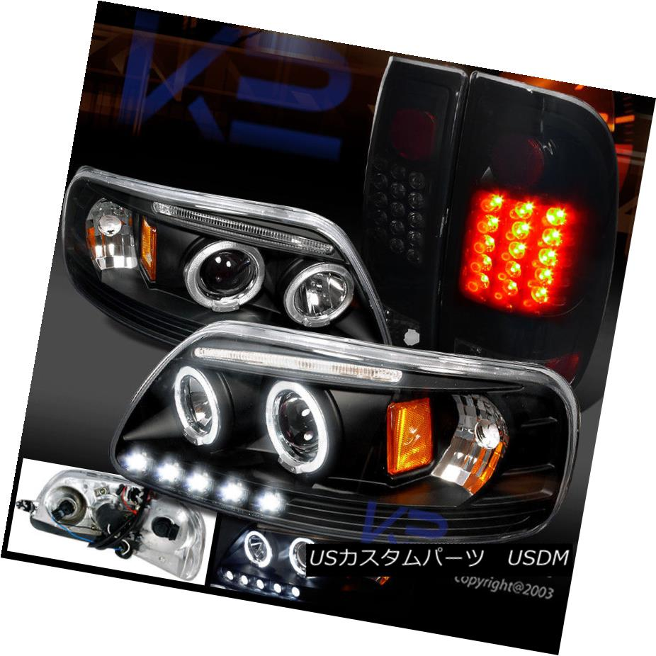 ヘッドライト 1997-2003 F150 XLT Halo Projector LED Headlight+Glossy Black LED Tail Lamp Smoke 1997-2003 F150 XLT HaloプロジェクターLEDヘッドライト+ Glos  syブラックLEDテールランプ煙