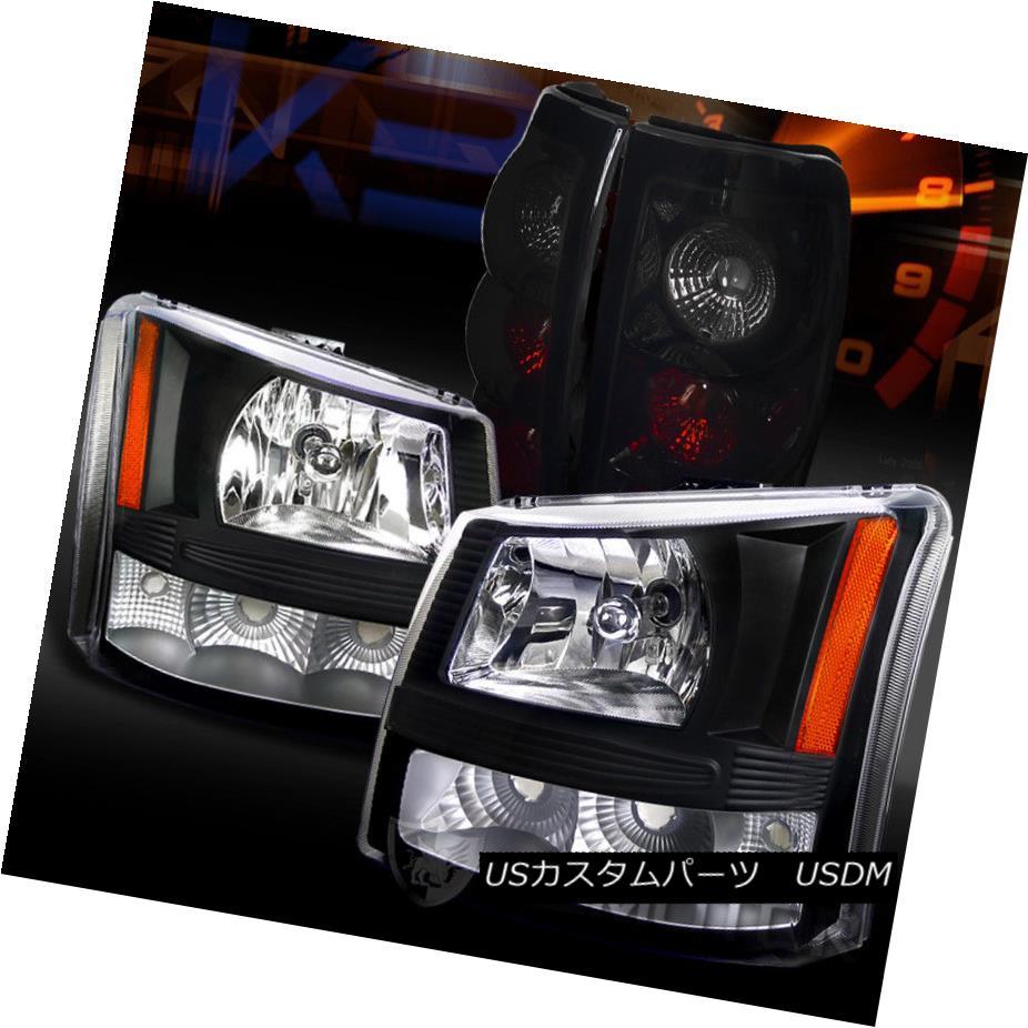 ヘッドライト 03-06 Silverado Pickup 1PC Style Black Headlights+Glossy Black Tail Lamps 03-06シルバラードピックアップ1PCスタイルブラックヘッドライト+グロー ssyブラックテールランプ