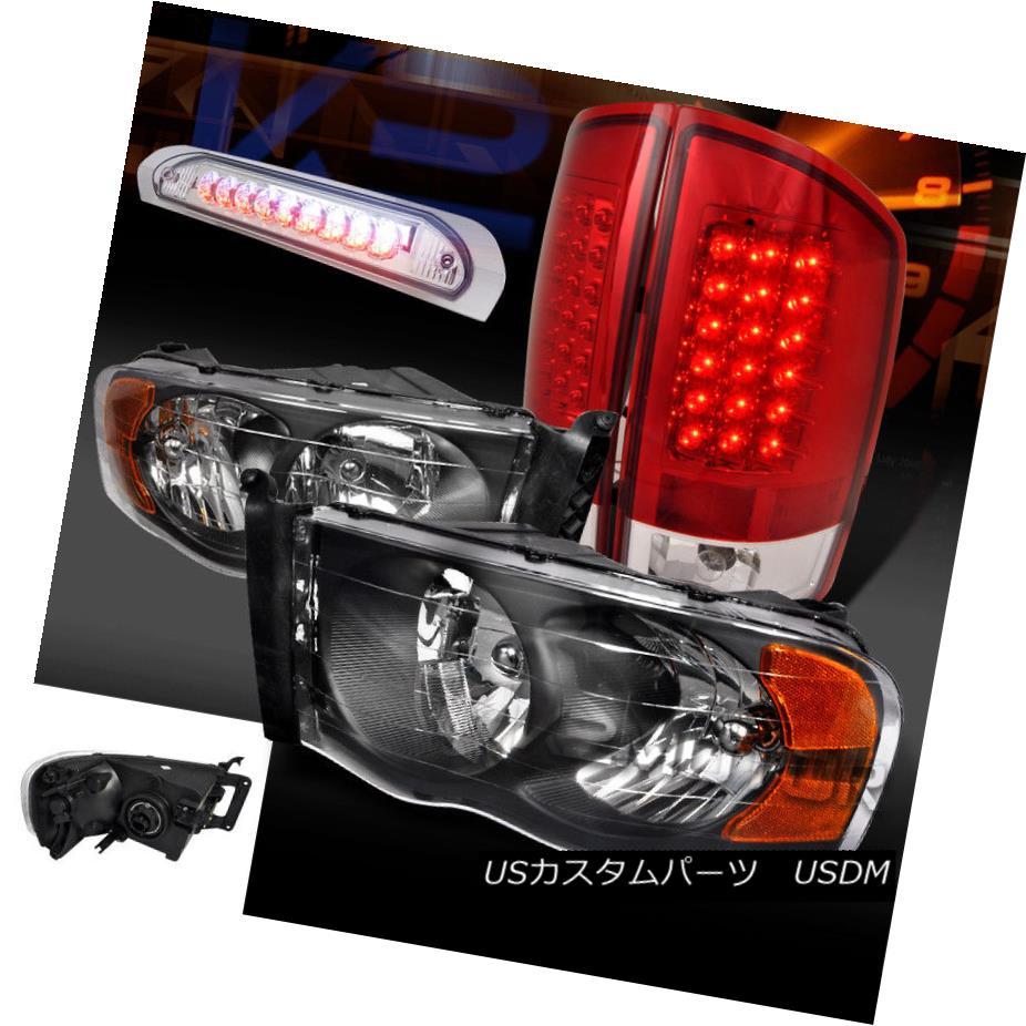 ヘッドライト Dodge 02-05 Ram 1500/2500/3500 Black Headlights+Red LED Tail Lamps+LED 3rd Brake ドッジ02-05ラム1500/2500/3500ブラックヘッドライト+レッドLEDテールランプ+ LED第3ブレーキ