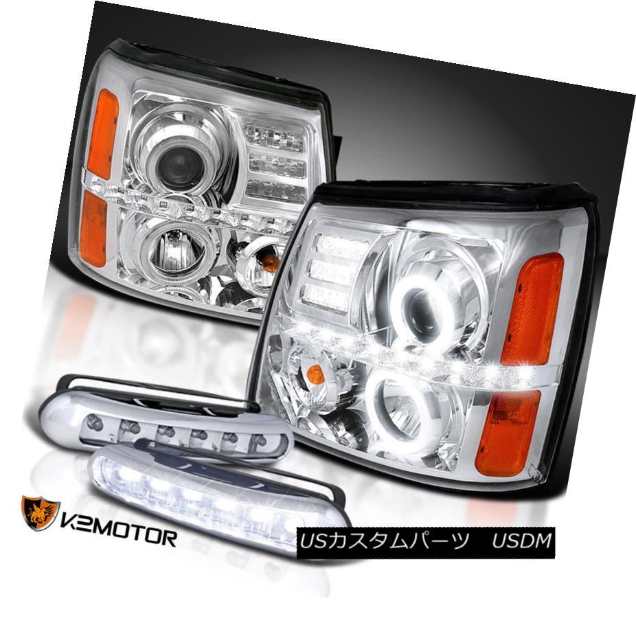 ヘッドライト 02-06 Escalade Dual Halo Projector Chrome Headlights+Driving LED Fog Lamps 02-06エスカレードデュアルハロープロジェクタークロームヘッドライト+ドライ ving LEDフォグランプ