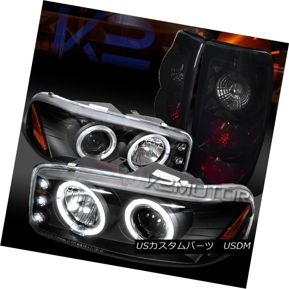 ヘッドライト 04-06 GMC Sierra LED Halo Projector Headlights+Glossy Black Tail Lamps 04-06 GMC Sierra LEDハロープロジェクターヘッドライト+グロー ssyブラックテールランプ