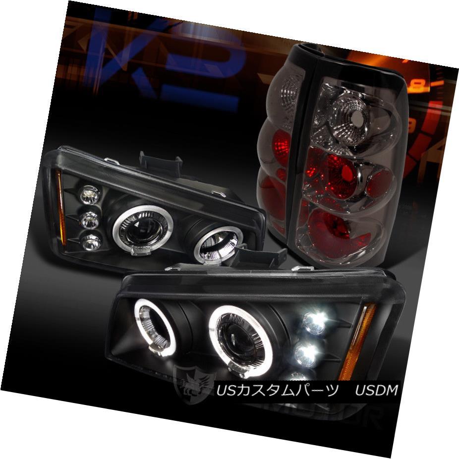 ヘッドライト 03-06 Silverado 1500 Black Dual Halo Projector Headlights+Smoke Tail Lamps 03-06 Silverado 1500 Blackデュアルハロープロジェクターヘッドライト+スモーキー keテールランプ