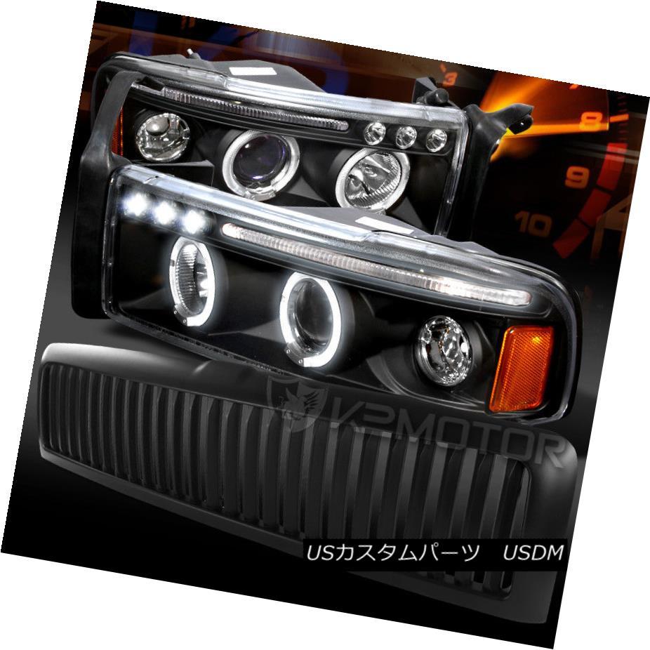 ヘッドライト 94-01 Ram Black Halo LED Projector Headlights+Vertical Bumper Hood Grille 94-01ラムブラックハローLEDプロジェクターヘッドライト+ Ver  tical Bumper Hood Grille