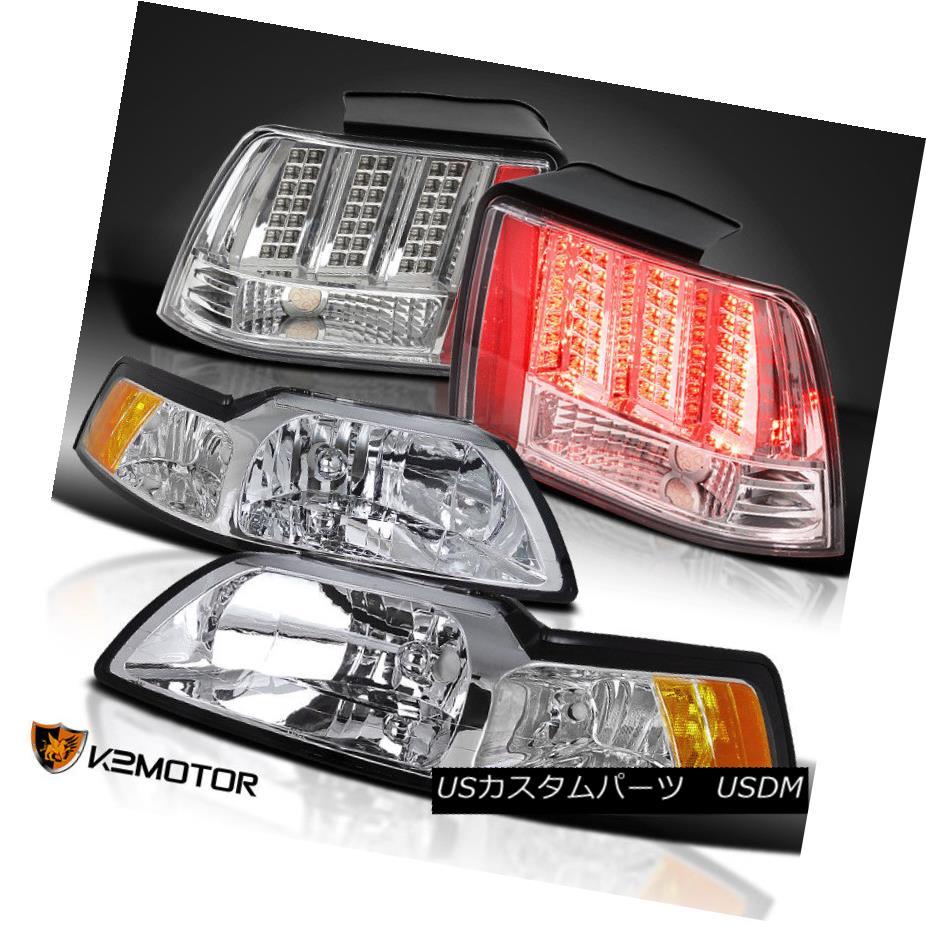 ヘッドライト Clear 99-04 Mustang Cobra Headlights+Sequential Signal LED Tail Brake Lights クリア99-04マスタングコブラヘッドライト+ Seq uential信号LEDテールブレーキライト