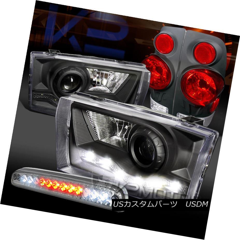 ヘッドライト 99-04 F250 SuperDuty Black SMD DRL Projector Headlights+3D Tail 3rd Brake Lamps 99-04 F250 SuperDutyブラックSMD DRLプロジェクターヘッドライト+ 3Dテール第3ブレーキランプ
