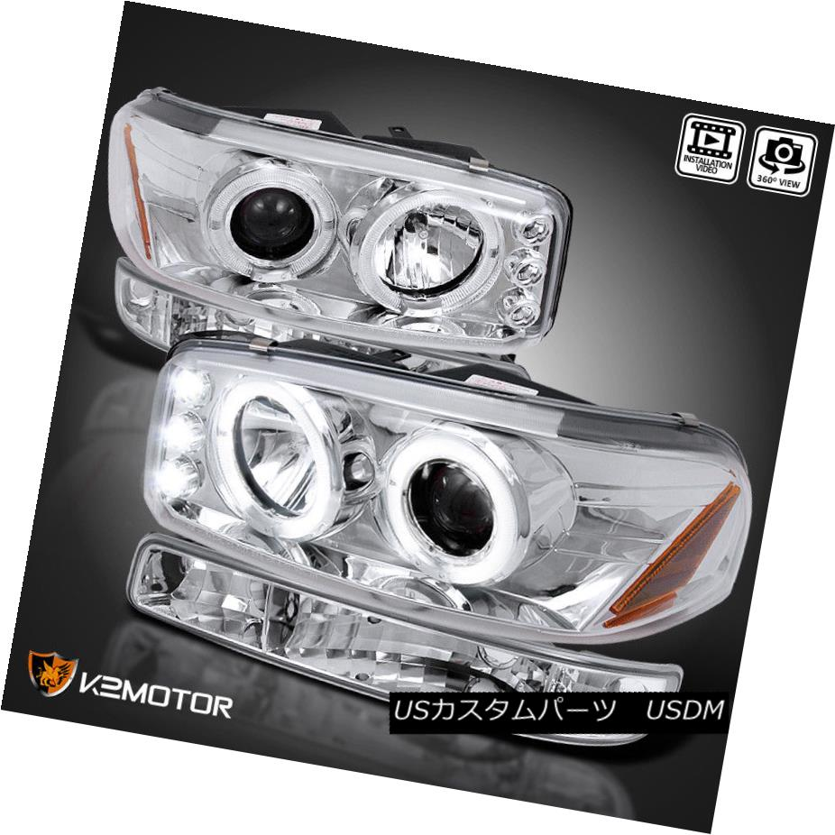 ヘッドライト 2000-2006 GMC Yukon XL Halo Projector Headlights+Parking Bumper Lamp Chrome 2000-2006 GMC Yukon XLハロープロジェクターヘッドライト+パー キングバンパーランプクローム