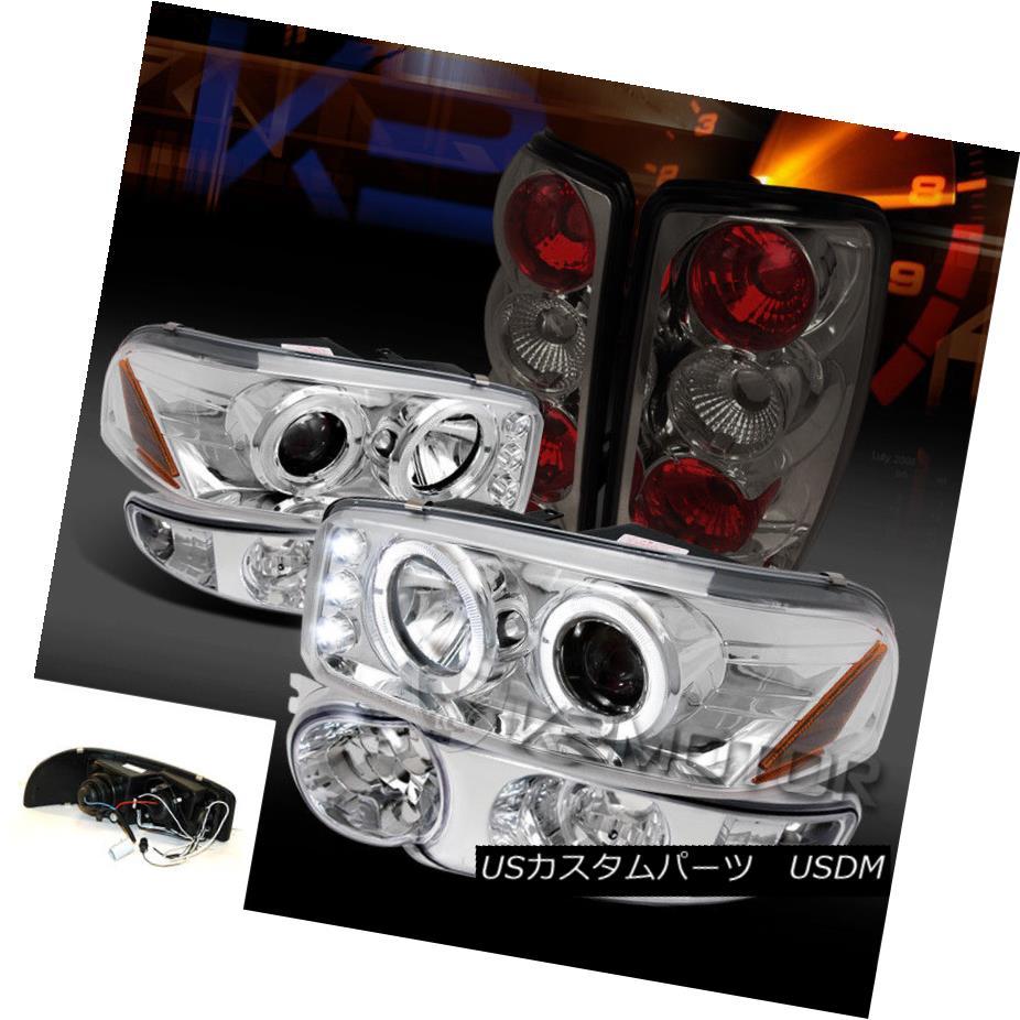 ヘッドライト 00-06 GMC Yukon Chrome Halo LED Projector Headlights Bumper Lamp+Smoke Tail Lamp 00-06 GMC Yukon Chrome Halo LEDプロジェクターヘッドライトバンパーランプ+スモークテールランプ