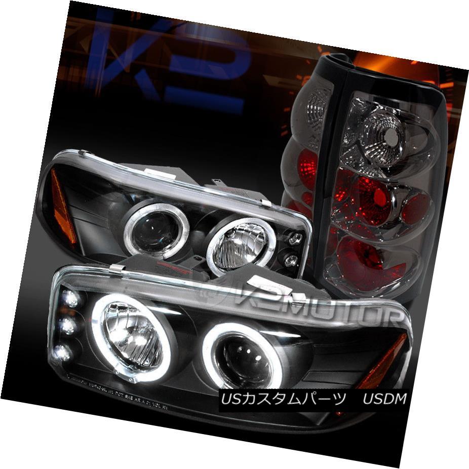 ヘッドライト 99-03 GMC Sierra Black LED Halo Projector Headlights+Smoke Rear Tail Lamps 99-03 GMC Sierra Black LEDハロープロジェクターヘッドライト+ Smo  keリアテールランプ
