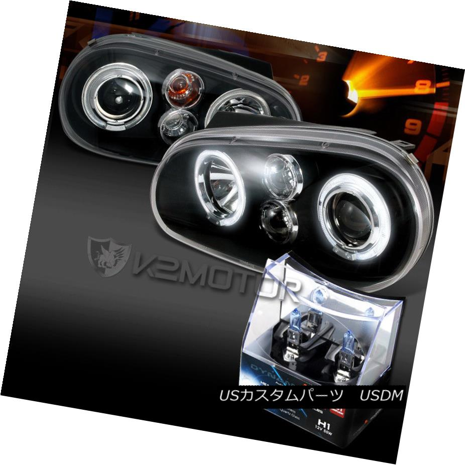 ヘッドライト Fit 99-05 VW Golf GTI R32 MK4 Black Halo Projector Headlights+H1 Halogen Bulbs フィット99-05 VWゴルフGTI R32 MK4ブラックハロープロジェクターヘッドライト+ H1ハロゲン電球