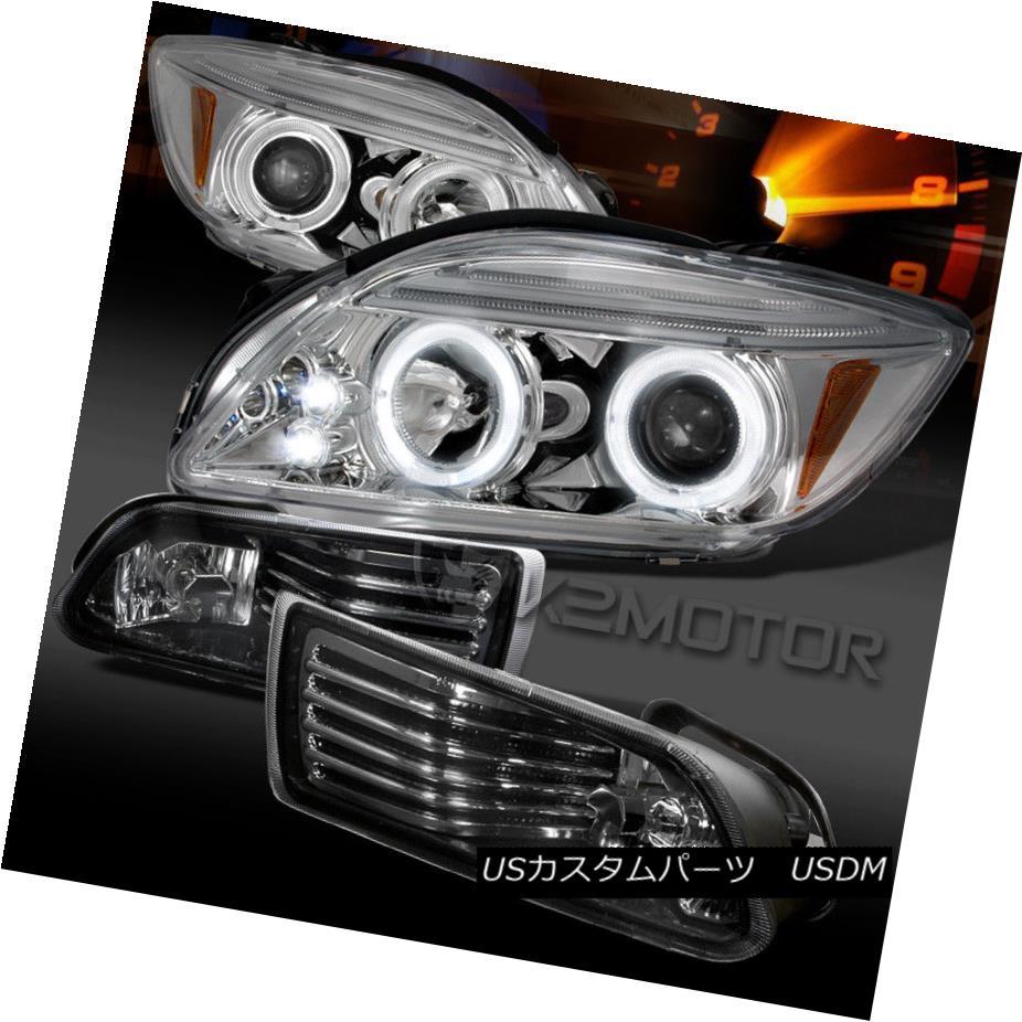 ヘッドライト 2005-2010 Scion tC Chrome LED Halo Projector Headlights+Smoke Fog Lights+Switch 2005-2010シオンtCクロームLEDハロープロジェクターヘッドライト+スモーキー keフォグライト+スイッチ