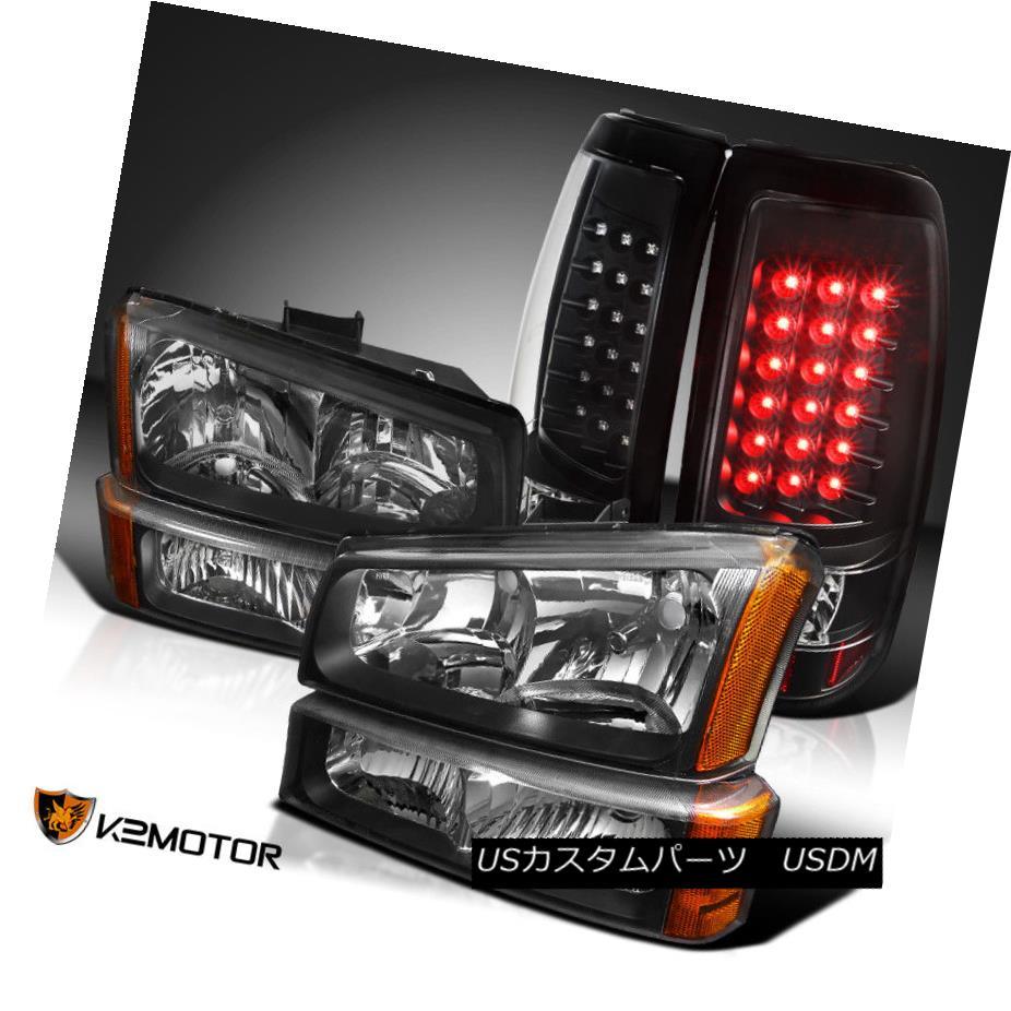 ヘッドライト 2003-2006 Chevy Silverado Black Headlights+Bumper Lamps+LED Tail Lights 2003年?2006年シボレーシルバラードブラックヘッドライト+バーン 、ランプ+ LEDテールライト