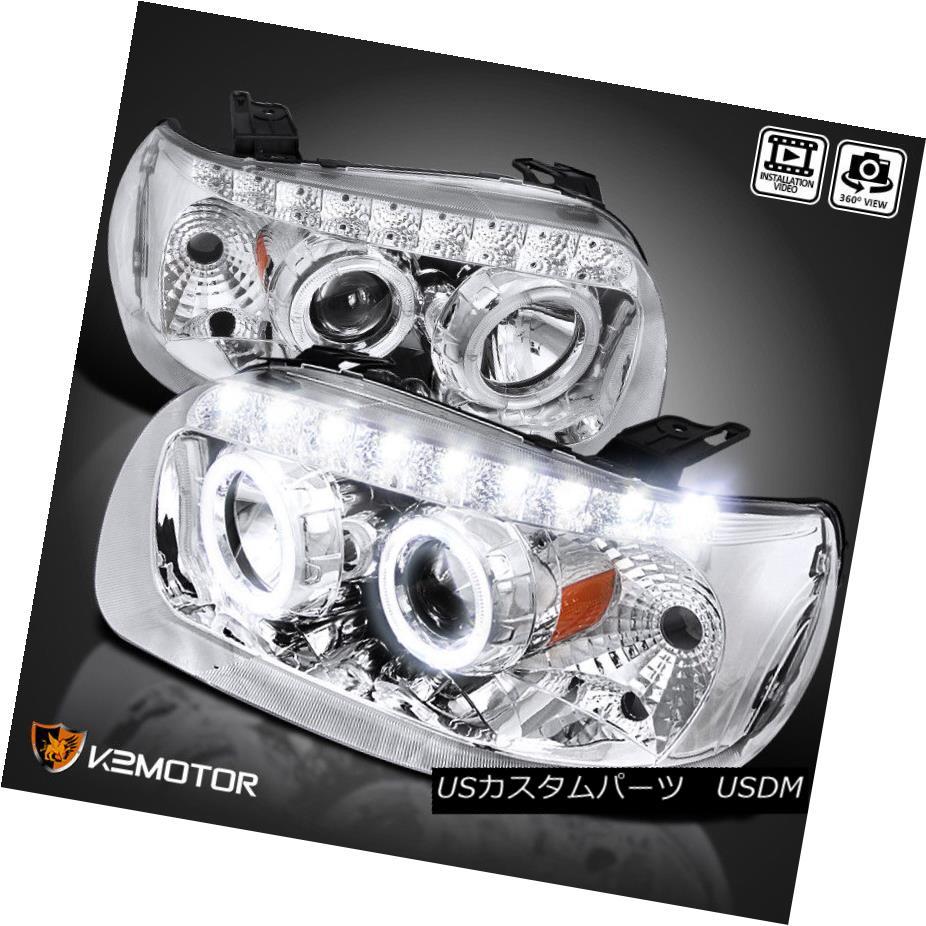 ヘッドライト 05-07 Escape Dual Halo Rim Projector SMD LED Headlights Chrome Head Lamps 05-07エスケープデュアルハローリムプロジェクターSMD LEDヘッドライトクロームヘッドランプ