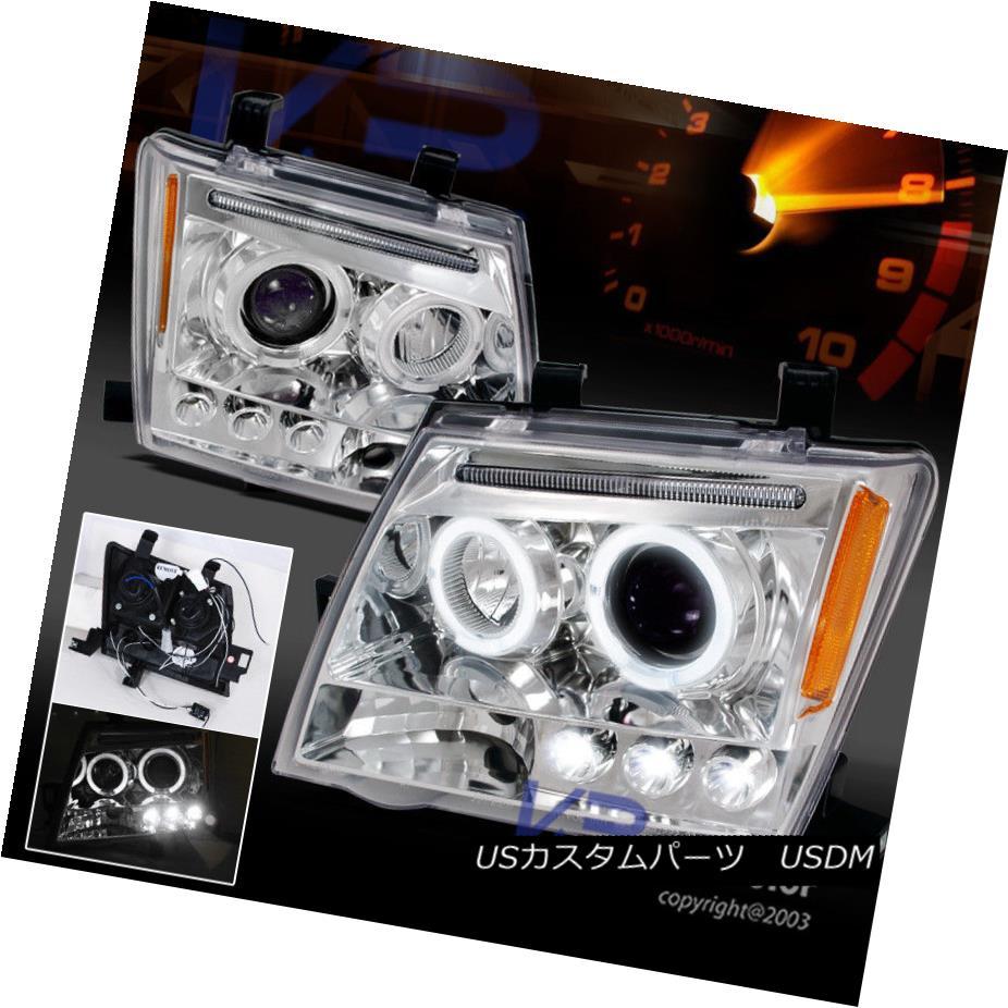 ヘッドライト Chrome LED Halo Projector Headlights Set For 2005-2012 Nissan Xterra クロムLEDハロープロジェクターヘッドライト、2005?2012年日産自動車向けに設定