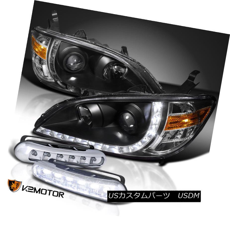 ヘッドライト For 04-05 Civic LED Daytime Running Black Projector Headlights+Driving Fog Lamps 04-05シビックLEDデイタイムランニング用ブラックプロジェクターヘッドライト+ドライ