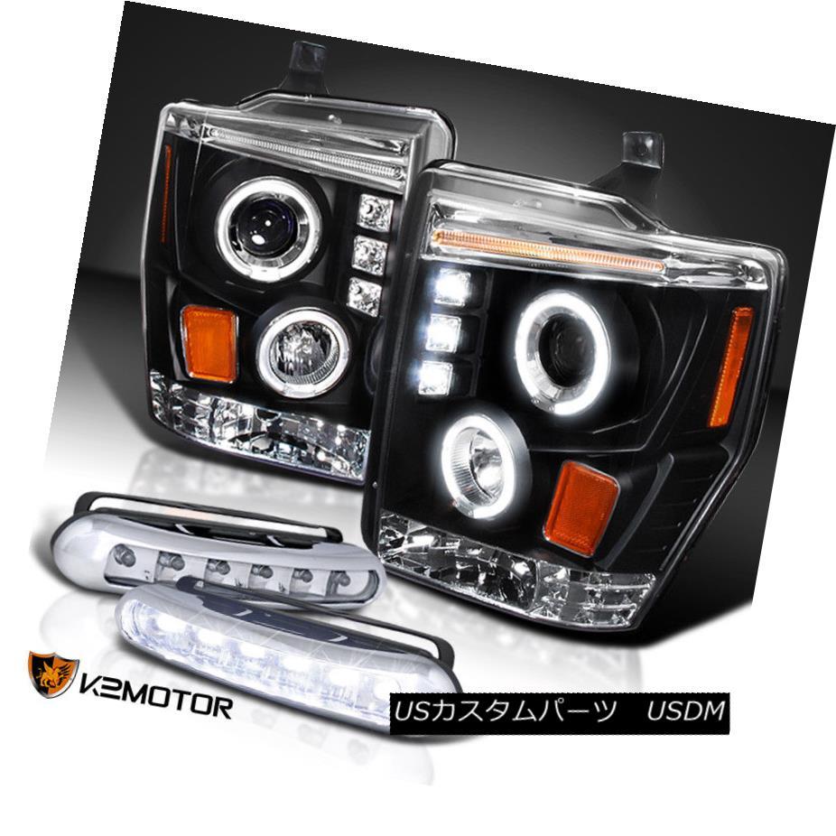ヘッドライト 08-10 F250 F350 F450 Black Halo Projector Headlights+LED DRL Fog Lamps 08-10 F250 F350 F450ブラックハロープロジェクターヘッドライト+ LED DRLフォグランプ