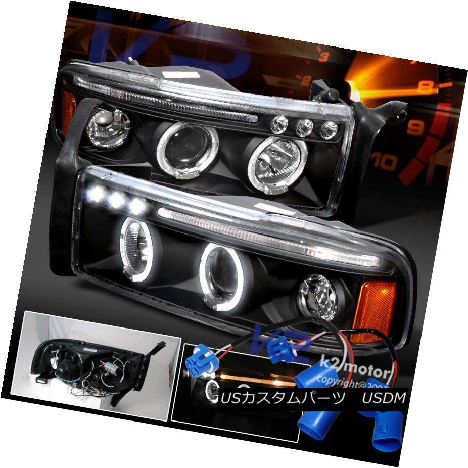 ヘッドライト 1994-2001 Dodge Ram Sport Pkg Halo Projector Headlights Black 1994-2001 Dodge Ram Sport Pkgハロープロジェクターヘッドライトブラック