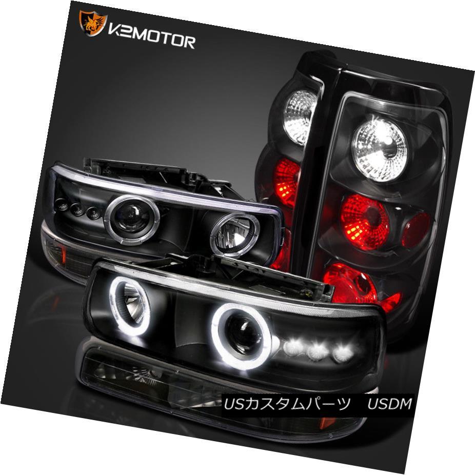 ヘッドライト 99-02 SIVLERADO 1500 BLACK HALO LED PROJECTOR HEADLIGHT+BUMPER LIGHT+TAIL LAMPS 99-02 SILVERADO 1500 BLACKハローLEDプロジェクターヘッドライト+ BUMP ERライト+テールランプ