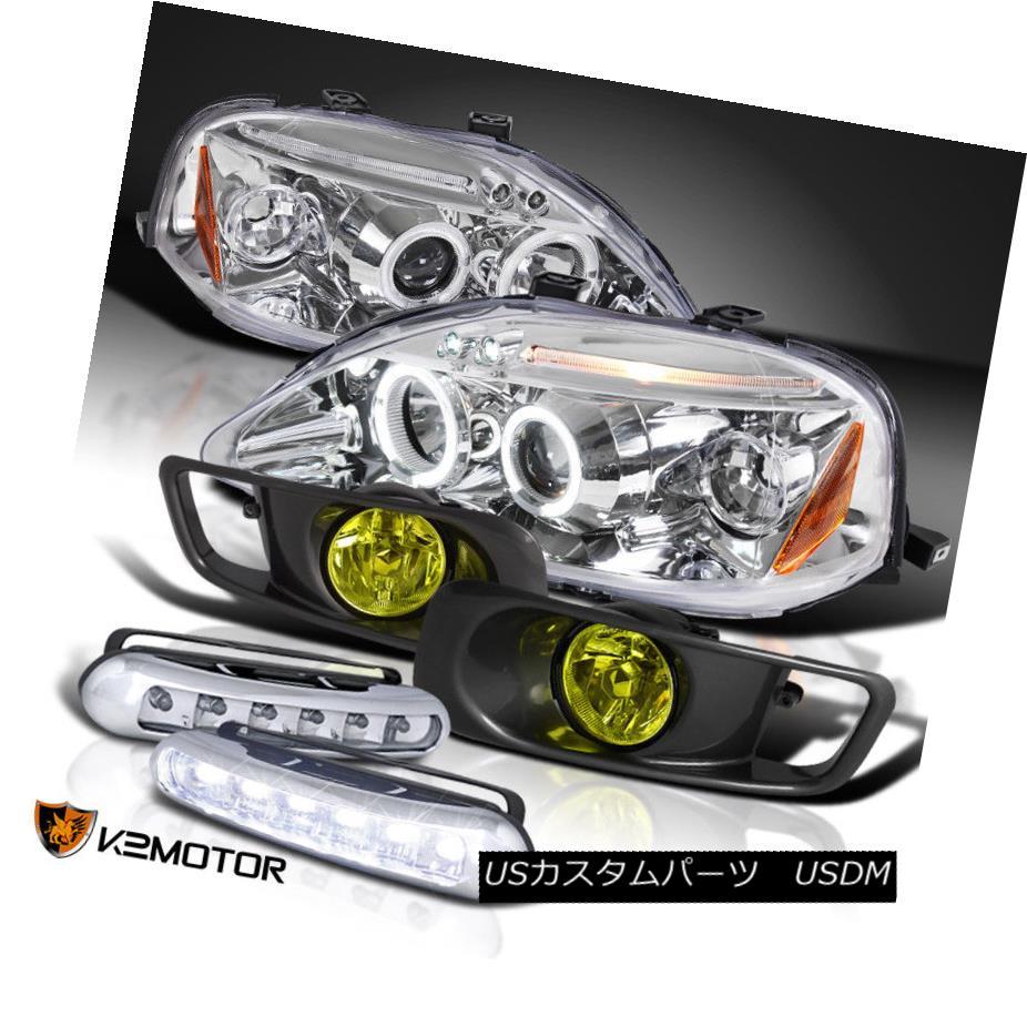 ヘッドライト For 99-00 Civic Chrome LED Halo Projector Headlight+Yellow Fog Lamp+Bumper DRL 99-00シビッククロームLEDハロープロジェクターヘッドライト+イエロー ow Fogランプ+バンパーDRL