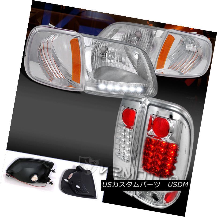 ヘッドライト Chrome Combo 97-03 Ford F150 DRL Headlight+Corner+Style Side LED Tail Lights クロムコンボ97-03フォードF150 DRLヘッドライト+コーン er +スタイルサイドLEDテールライト