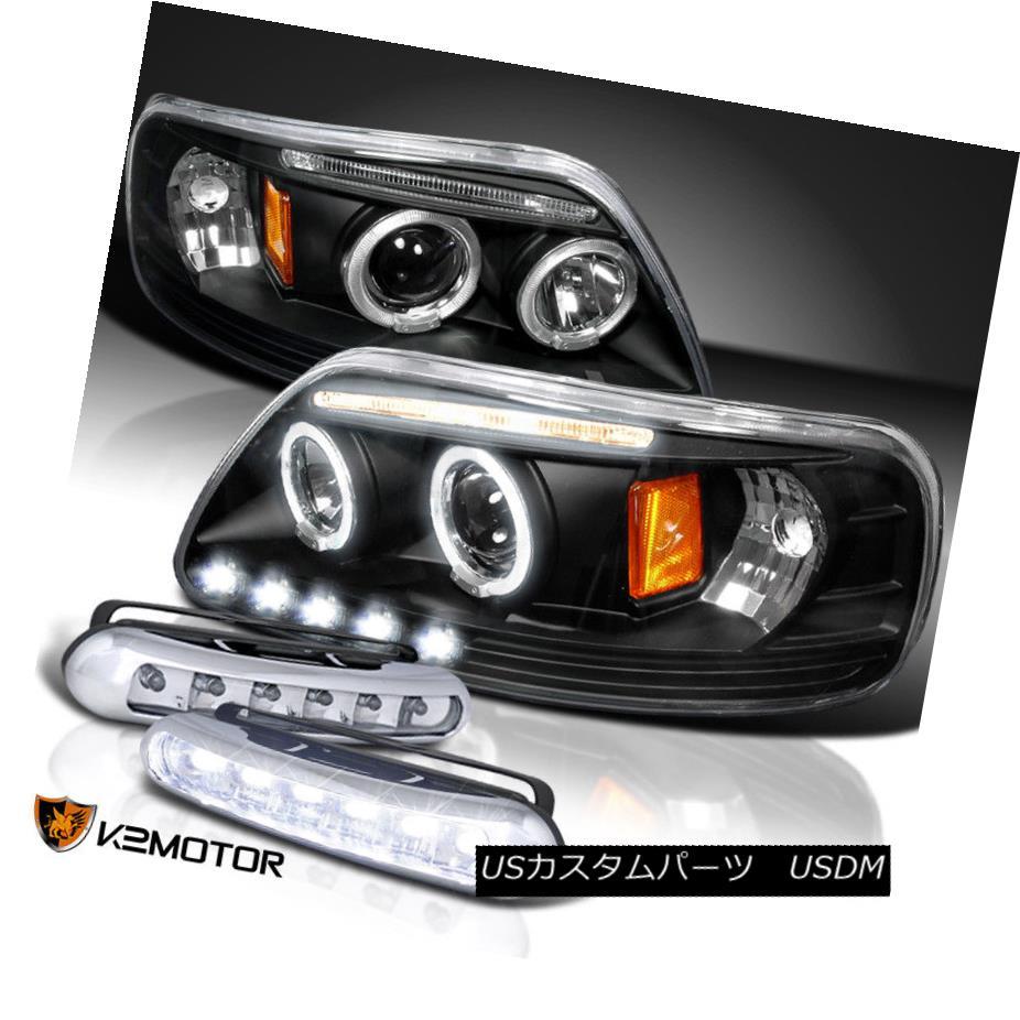 ヘッドライト 1997-2003 F150 Twin Halo Projector Headlights Black /White LED DRL Fog Lamps 1997-2003 F150ツインハロープロジェクターヘッドライトブラック/ホワイトLED DRLフォグランプ