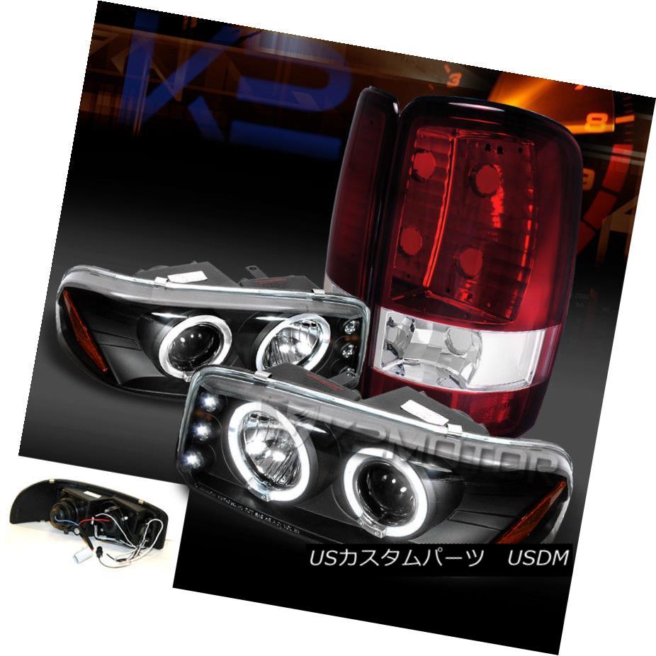 ヘッドライト 00-06 GMC Yukon Denali XL Black LED Halo Projector Headlights+Red Tail Lamps 00-06 GMC Yukon Denali XLブラックLEDハロープロジェクターヘッドライト+レッドテールランプ