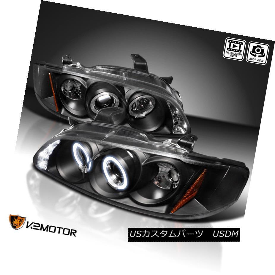ヘッドライト Black Projector Headlights Pair For 2000-2003 Nissan Sentra 2000-2003 Nissan Sentra用ブラックプロジェクターヘッドライトペア