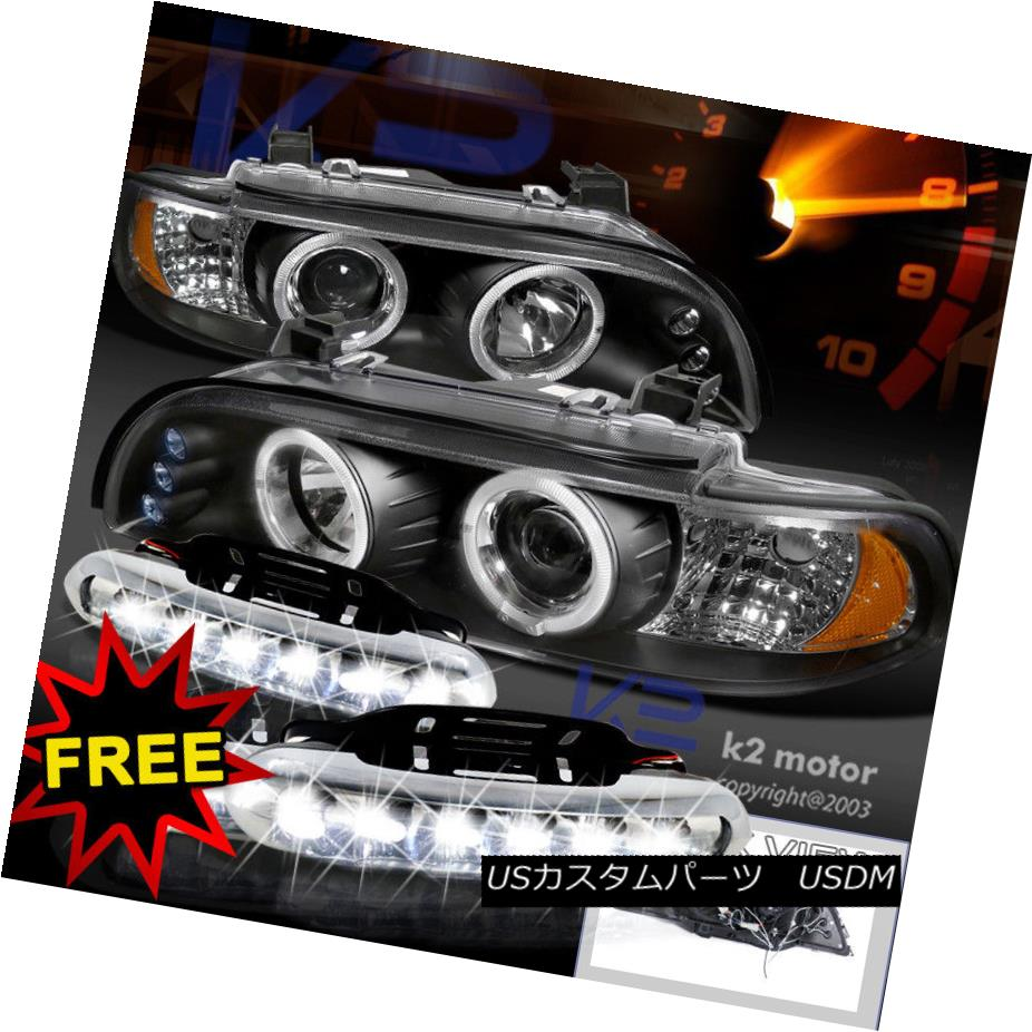 ヘッドライト 96-03 E39 LED Halo Black Projector Headlights+White LED Fog Lamps 96-03 E39 LEDハローブラックプロジェクターヘッドライト+ Whi
