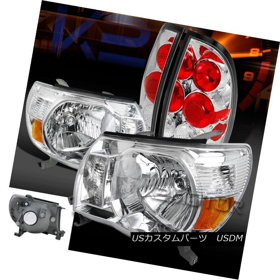 ヘッドライト For 05-08 Toyota Tacoma Chrome Crystal Headlights+Clear Rear Tail Brake Lamps 05-08トヨタタコマクロームクリスタルヘッドライト+ Cle  arリアテールブレーキランプ
