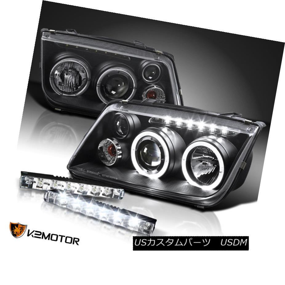 ヘッドライト For 99-05 VW Jetta Bora Black Halo Projector Headlights+LED DRL Daytime Fog Lamp 99-05 VWジェッタボラブラックハロープロジェクターヘッドライト+ LED DRLデイタイムフォグランプ