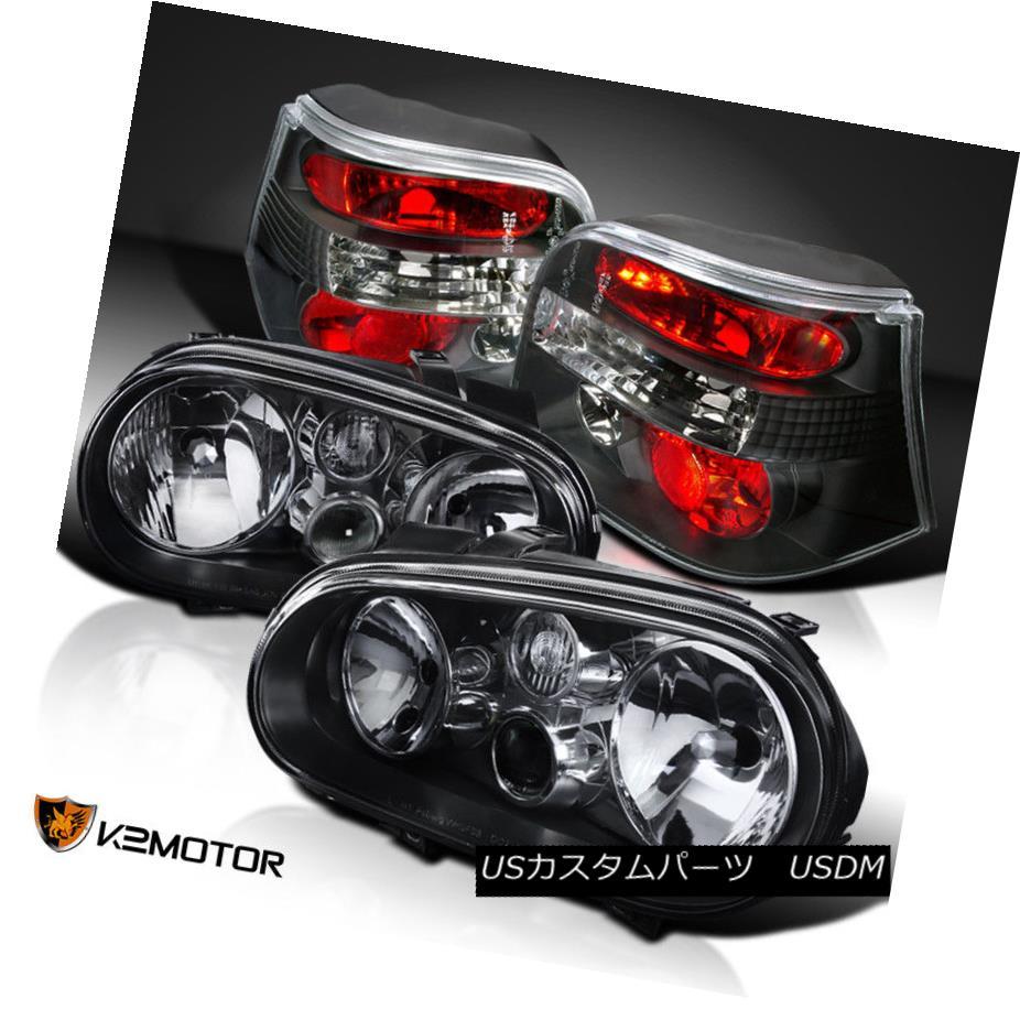 ヘッドライト Fits 99-06 VW Golf GTI MK4 Black Headlights w/Built-in Fog Lamps+Tail Lights フィット99-06 VWゴルフGTI MK4ブラックヘッドライト(フォグランプ+テールライト内蔵)