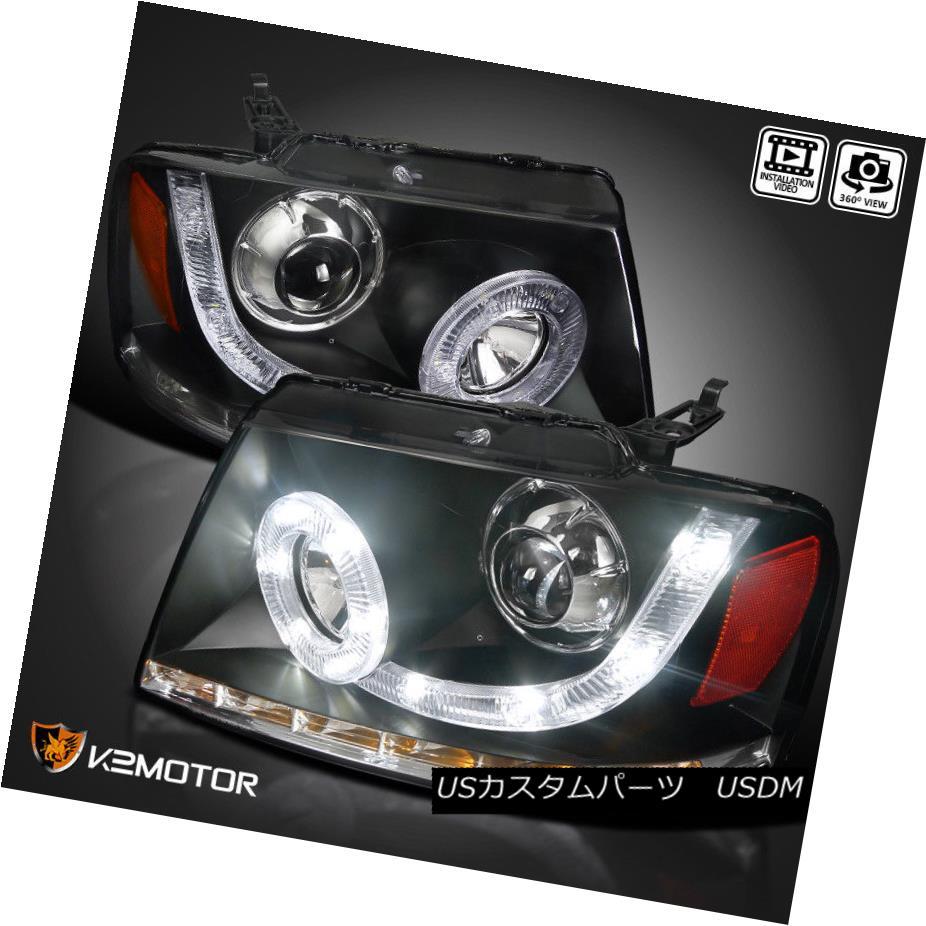 ヘッドライト 04-08 F150 06-08 Mark LT SMD LED Halo DRL Signal Projector Headlights Black 04-08 F150 06-08マークLT SMD LEDハローDRLシグナルプロジェクターヘッドライトブラック